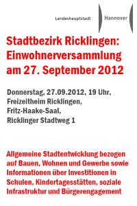 Stadtbezirk Ricklingen: Einwohnerversammlung am 27. September