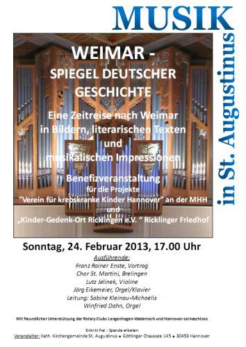 Musik in St. Augustinus - Benefizveranstaltung: Weimar - Spiegel Deutscher Geschichte