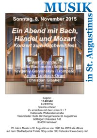 St. Augustinus: Konzert zum Kirchweihfest am Sonntag, 8 November 2015, 17 Uhr