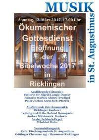 Ökumenische Bibelwoche 2017 - Eröffnung Sonntag, 12. März 2017, 17 Uhr, St. Augustinus