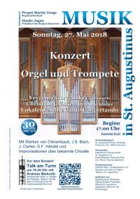Konzert für Orgel und Trompete am Sonntag, 27. Mai 2018, 17 Uhr, in St. Augustinus, Göttinger Chaussee 145, 30459 Hannover