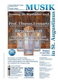 Prof. Thomas Lennartz, Leipzig - Orgelkonzert: Kathedralmusik & Improvisationen
