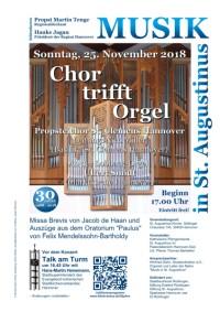 Chor trifft Orgel am Sonntag, 25. November 2018, 17.00 Uhr in St. Augustinus