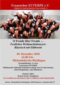 Frauenchor EUTERPE: O Freude über Freude (Sonntag, 09.12.2018, 16 Uhr, Michaeliskirche)