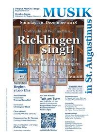 Ricklingen singt! Am Sonntag, 16. Dezember 2018, 17 Uhr in der Ricklinger St. Augustinus-Kirche