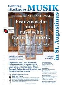 Orgelkonzert mit Prof. Daniel Zaretsky aus St. Petersburg/Russland am 18. August 2019