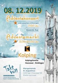 Adventskonzert mit dem Chor Taktvoll und Adventsmarkt der Kolpingsfamilie Hannover-Ricklingen