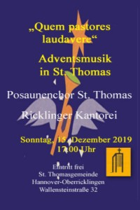 Adventsmusik in St. Thomas am 15. Dezember 2019