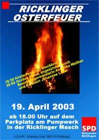 Ricklinger Osterfeuer 2003